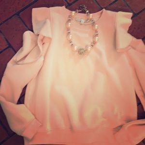 Rebecca  Minkoff ruffled cold shoulder sweatshirt
